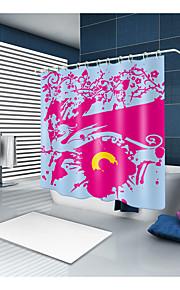 シャワーカーテン&フック コンテンポラリー ポリエステル ソリッド 機械製 防水 浴室