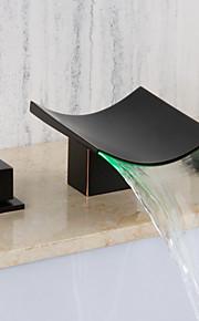 バスルームのシンクの蛇口 - 滝状吐水タイプ 組み合わせ式 オイルブロンズ 壁式 二つのハンドル三穴