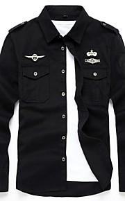Hombre Militar Tallas Grandes Bordado - Algodón Camisa Un Color Negro XXXXL / Manga Larga / Verano / Otoño