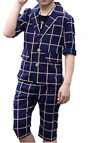 Çocuklar Genç Erkek Actif Temel Günlük Tatil Solid Ekose Yarım Kol Pamuklu Polyester Takım Elbise ve Blazer Bej