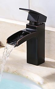 욕실 싱크 수도꼭지 - 워터팔 오일럽된 브론즈 세면대 수전 싱글 핸들 하나의 구멍