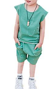 Småbarn Pojkar Dagligen Tryck Rev Tryck Kortärmad Normal Normal Bomull Klädesset Blå / Gulligt