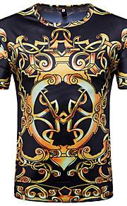 男性用 プリント Tシャツ ヴィンテージ / ベーシック ラウンドネック 幾何学模様 / 半袖