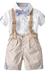 Toddler Genç Erkek Vintage Sokak Şıklığı Günlük Okul Zıt Renkli Kırk Yama Kısa Kollu Normal Normal Pamuklu Suni İpek Polyester Kıyafet Seti Beyaz