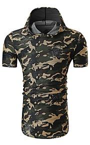 Herrn camuflaje - Grundlegend Baumwolle T-shirt, Mit Kapuze Blau L / Kurzarm / Sommer