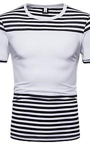 Муж. Футболка Хлопок, Круглый вырез Классический Полоски Белый L / С короткими рукавами