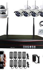 strongshine® 8ch wifi nvr met 1,3megapixel draadloze ip camera (4 stuks weatherproof bulit camera& 4pcs dome camera) cctv camera