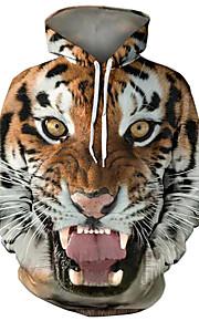 Ανδρικά Βασικό / Εξωγκωμένος Μεγάλα Μεγέθη Φαρδιά Παντελόνι - 3D / Κινούμενα σχέδια Τίγρης, Στάμπα Καφέ / Με Κουκούλα / Μακρυμάνικο / Φθινόπωρο