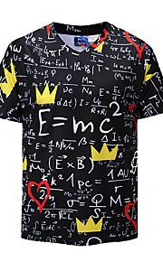男性用 プリント Tシャツ ベーシック / 誇張された Vネック レタード / 半袖 / 夏