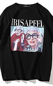 Ανδρικά T-shirt Βαμβάκι Πορτραίτο Στρογγυλή Λαιμόκοψη Μαύρο L / Κοντομάνικο