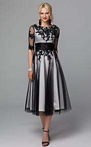 099be2053fd3 Γραμμή Α Με Κόσμημα Κάτω από το γόνατο Δαντέλα   Τούλι Μικρό Μαύρο Φόρεμα  Κοκτέιλ Πάρτι