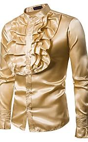 Chemise Homme, Couleur Pleine A Volants Soirée Luxe / Rétro Vintage / Basique Col Officier Jaune L / Manches Longues