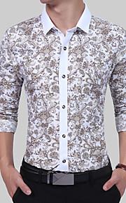 Hombre Vintage / Básico / Chic de Calle Trabajo Estampado Camisa, Cuello Americano Bloques Blanco L / Manga Larga / Verano