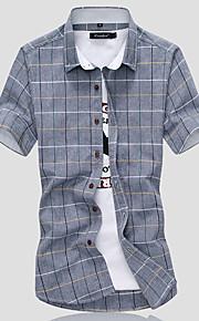 Pánské - Geometrický Košile Bavlna Bílá XXXL / Krátký rukáv