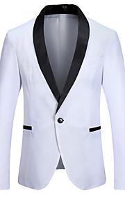 男性用 お出かけ レギュラー ブレザー, カラーブロック Vネック 長袖 ポリエステル ホワイト / ブラック / ワイン M / L / XL