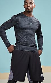 Herrn camuflaje / Buchstabe - Aktiv / Grundlegend Sport T-shirt, Rundhalsausschnitt Skinny Druck Schwarz M / Langarm