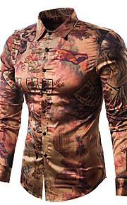 男性用 プリント シャツ ヴィンテージ / 活発的 スリム 幾何学模様 / 長袖