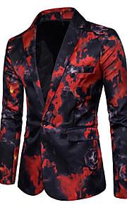 בגדי ריקוד גברים פול אודם XL XXL XXXL בלייזר דפוס דש קלאסי / שרוול ארוך