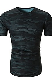 Herrn camuflaje - Grundlegend Baumwolle T-shirt, Rundhalsausschnitt Blau L / Kurzarm / Sommer
