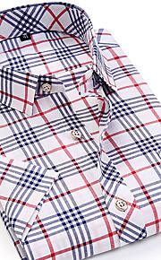 男性用 ワーク シャツ ビジネス / ベーシック / ストリートファッション スリム カラーブロック / チェック コットン / 半袖 / 夏