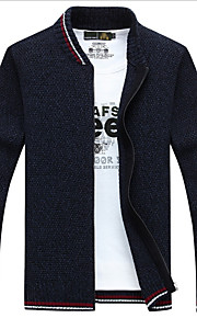 Hombre Diario Un Color Manga Larga Regular Cardigan, Escote Chino Negro / Gris / Wine XL / XXL / XXXL