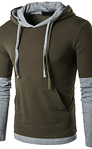 Hombre Básico Retazos - Algodón Camiseta, Con Capucha Bloques Negro L / Manga Larga