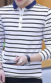 Муж. Большие размеры - Футболка Хлопок, Рубашечный воротник Полоски Белый XL / Длинный рукав