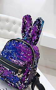 Naisten Paljeteilla / Vetoketjuilla Backpack Backpack Polyesteri / PU Rubiini / Punastuvan vaaleanpunainen / Hopea / Syystalvi