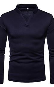 Hombre Básico Camiseta, Escote en Pico Un Color Gris Oscuro L / Manga Larga