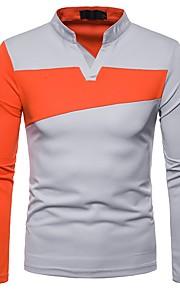 メンズTシャツ/ポロカラーブロックvネック