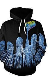 男性用 ベーシック プラスサイズ ルーズ パンツ - ソリッド / 幾何学模様 プリント ブラック / フード付き / 長袖