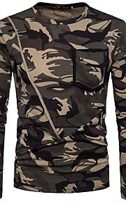 Herrn camuflaje - Grundlegend T-shirt, Rundhalsausschnitt Braun L / Langarm