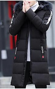 男性用 日常 カラーブロック ロング パーカー, POLY 長袖 フード付き グリーン / ブラック XL / XXL / XXXL