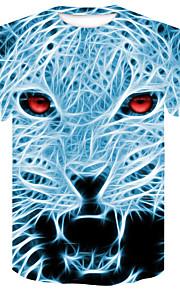Муж. Для клуба С принтом Большие размеры - Футболка Круглый вырез Уличный стиль / Панк & Готика Контрастных цветов / 3D / Животное Светло-синий XXL / С короткими рукавами / Лето