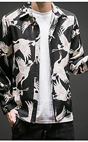Муж. Рубашка Классический Цветочный принт Черный XXL / Длинный рукав