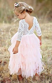 아동 여아 베이직 일상 솔리드 레이스 / 멀티 레이어 긴 소매 면 / 폴리에스테르 드레스 루비