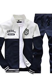 Hombre Básico Delgado Pantalones - Bloques / Letra Rojo / Escote Chino / Deportes / Manga Larga / Primavera / Otoño
