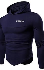 Hombre Activo / Básico Algodón Camiseta, Con Capucha Geométrico / Bloques / Letra Rojo L / Manga Larga