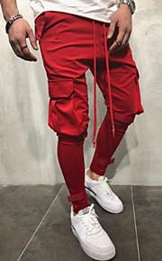 Муж. Классический Хлопок Чино / Брюки-карго Брюки - Однотонный Красный / Весна / Осень