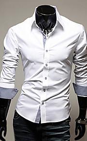 Erkek Pamuklu Forma Yaka İnce - Gömlek Temel, Solid İş Çalışma Büyük Bedenler Siyah XL / Uzun Kollu / Bahar / Sonbahar