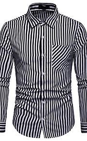 Муж. Офис С принтом Рубашка Деловые / Классический Полоски / Контрастных цветов Черный L / Длинный рукав
