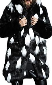 Ανδρικά Καθημερινά Μεγάλα Μεγέθη Κανονικό Γούνινο παλτό, Συνδυασμός Χρωμάτων Με Κουκούλα Μακρυμάνικο Ψεύτικη Γούνα Λευκό / Μαύρο XXL / XXXL / 4XL