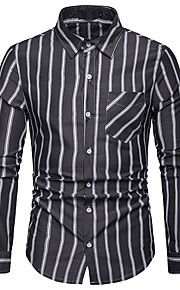 Hombre Negocios / Básico Trabajo Estampado Camisa A Rayas / Bloques Azul Piscina L / Manga Larga