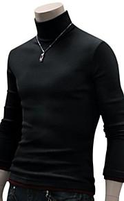 Hombre Diario / Fin de semana Un Color Manga Larga Delgado Regular Pullover, Cuello Alto Otoño Lana Rojo oscuro / Gris oscuro / Gris Claro M / L / XL