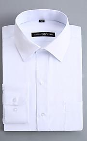 Hombre Negocios / Básico Trabajo Algodón Camisa, Cuello Italiano Delgado Un Color Blanco XXXXL / Manga Larga / Primavera / Otoño