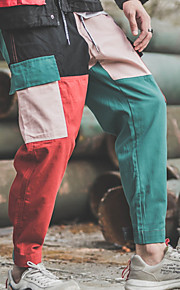 男性用 ベーシック コットン ルーズ ハーレム / カーゴパンツ パンツ - カラーブロック ルビーレッド