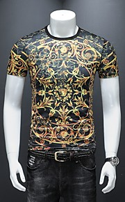 男性用 プリント Tシャツ ストリートファッション / パンク&ゴシック カラーブロック