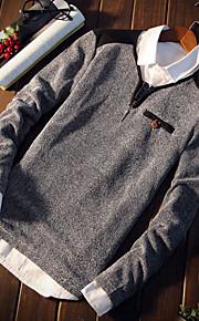 Муж. Футболка Круглый вырез Классический Контрастных цветов Синий XL / Длинный рукав