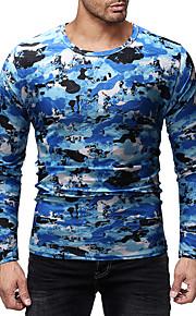 Herrn camuflaje T-shirt, Rundhalsausschnitt Blau L / Langarm
