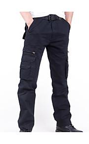 男性用 コットン チノパン / カーゴパンツ パンツ - ソリッド ブラック